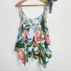 Lauren Conrad floral tie strap blouse size XL